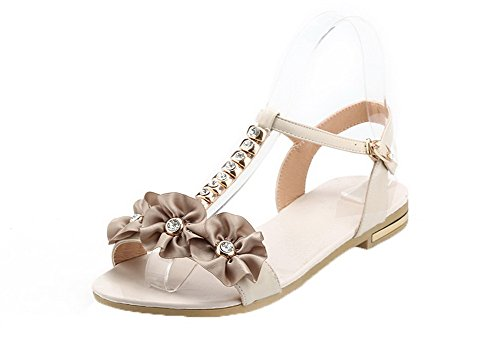 Soft Material Low Buckle Toe Women apricot Sandals Solid Open Heels VogueZone009 qaARTwH