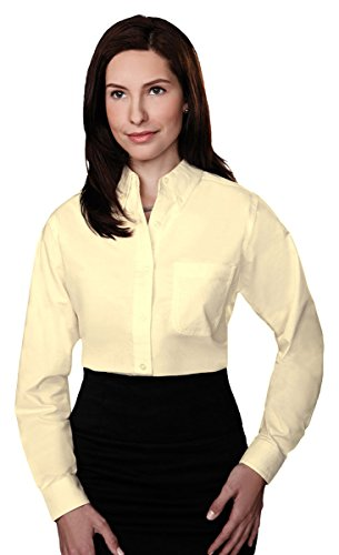 Tri Mountain Womens 60 40 Stain Resistant Long Sleeve Oxford Shirt  742Tm   Butter Xl