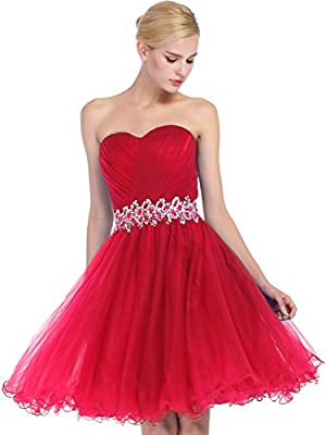 FAIRY COUPLE A-Line Ruffled Homecoming Dress With Beading Sequins D0405