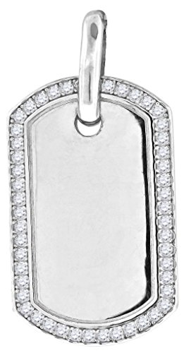 Jewels By Lux 925 Sterling Silver Mens Round Cubic Zirconia CZ Dog Tag Charm Pendant (25mm x 49mm) (Dog Pendant Tag Charm Silver)