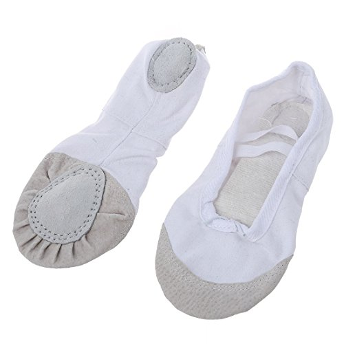 SODIAL Black 1 Ballet Gymnastics Ballet Adult Slippers Pair Of Dance Canvas Asia Practice Shoes White Leather Dance 37 Shoes EU 36 HHxqrAd