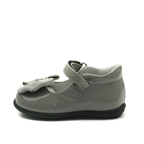 SB156 Studio BIMBI Dolly Shoe w/Bow Smart for Girls >      > Zapato bailarina formales con arco para niñas Grey (Gris)