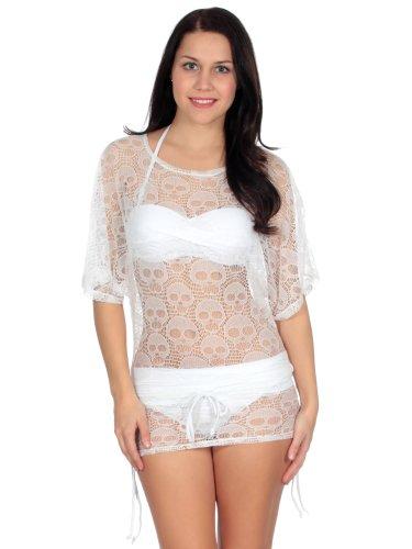 Simplicity bikini cover up in mesh skull pattern w/ drawstring waist