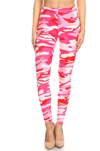 Women's Plus Pink Camouflage Army Pattern Printed Leggings