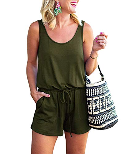 KIRUNDO Women's 2019 Summer Overalls Crew Neck Solid Color Sleeveless High Drawstring Waist Tank Top Short Rompers (Large, Army Green) (Le Romper Top Sleeveless)