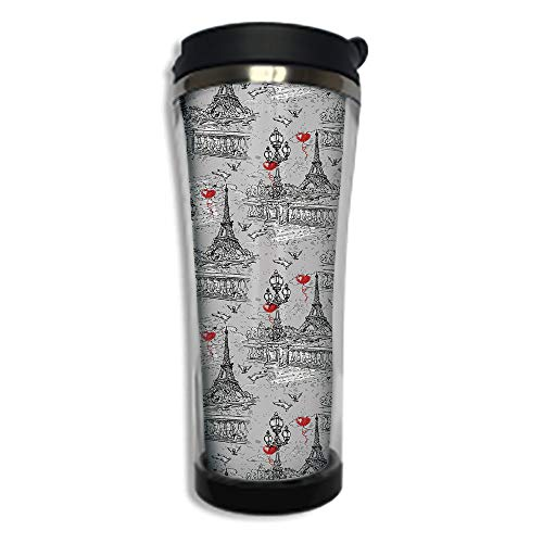 Travel Coffee Mug 3D Printed Portable Vacuum Cup,Insulated Tea Cup Water Bottle Tumblers for Drinking with Lid 8.45 OZ(250 ml)by,Eiffel,River Seine Lanterns and Doves on Vintage Style Drawing Style Ar