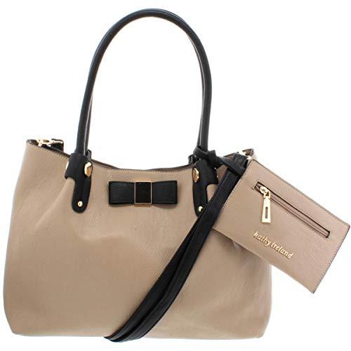 Kathy Ireland Womens Faux Leather Bow Satchel Handbag Taupe Medium