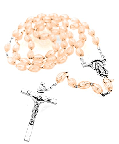 Catholic Rosary with Metal Crucifix Cross Made in Italy Miraculous Pink Oval Beads (Rose)