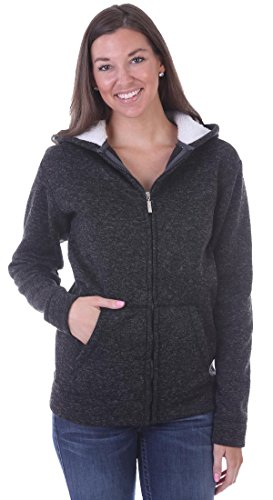 Woodland Supply Co. Women's Fleece Lined Zip Up Sherpa Hoodie Jacket (Large, Black)