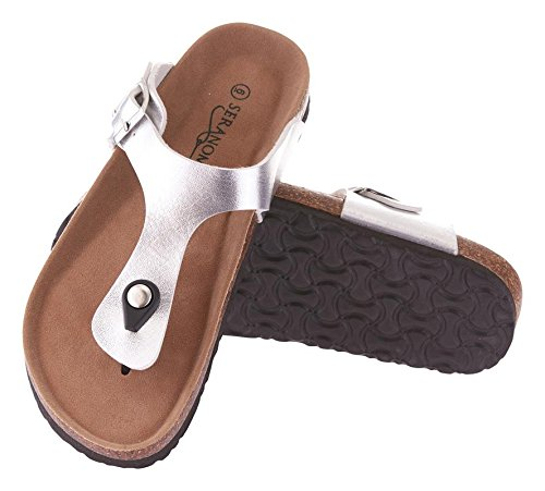 Seranoma Women's Thong Cork Sandal | Open Toe Slide | Flat Footbed Silver
