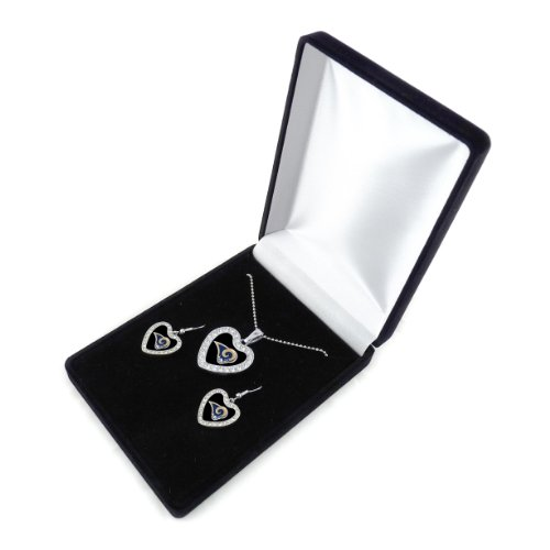 NFL St. Louis Rams Reversible Crystal Heart Pendant and Earrings in Satin Box - Louis Rams Crystal Earring