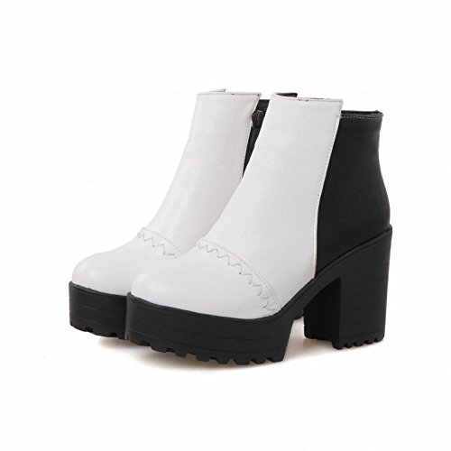Carolbar Women's Concise Assorted Colors High Heel Platform Martin Boots White syqw5WvBL