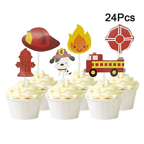 24Pcs Fireman Themed Fire Truck Firefighter Hat Shield Fire Hydrants Flame Cupcake Toppers Cake Picks for Baby Shower Birthday Party -