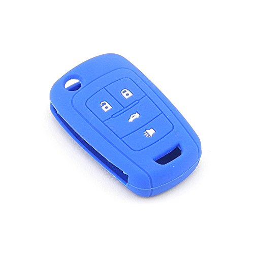 iSaddle Silicone Protecting Vehicle Remote Start Key Case Cover Fob Holder for Chevrolet Camaro Cruze Equinox Malibu Orlando Sonic (Dark Blue Color)