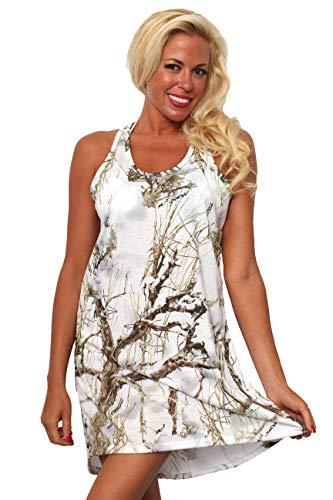 (SHORE TRENDZ Women's TrueTimber Camo Dress Nightgown.White.L)