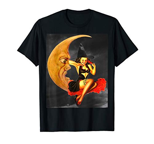 Pin Up Girl Halloween (Vintage Pin Up Girl Witch on Moon Halloween)