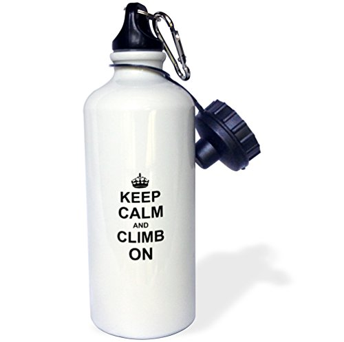 "3dRose wb_157698_1""Keep Calm and Climb on-carry on climbing-gift for rock climbers-black fun funny humor humorous"" Sports Water Bottle, 21 oz, White"