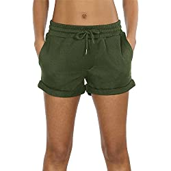 icyzone Workout Lounge Shorts Women - Athletic Running Jogging Cotton Sweat Shorts (Army Green, S)