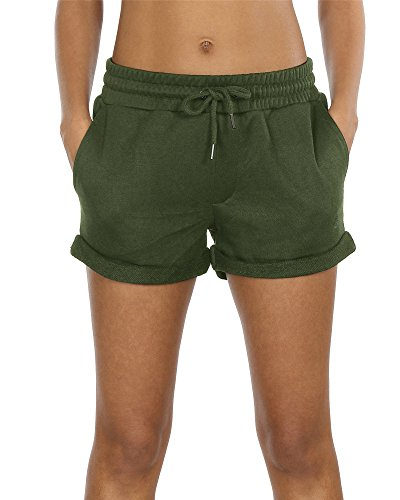 icyzone Workout Lounge Shorts For Women - Athletic Running Jogging Cotton Sweat Shorts (Army Green, S) (Tee Custom S/s Womens)