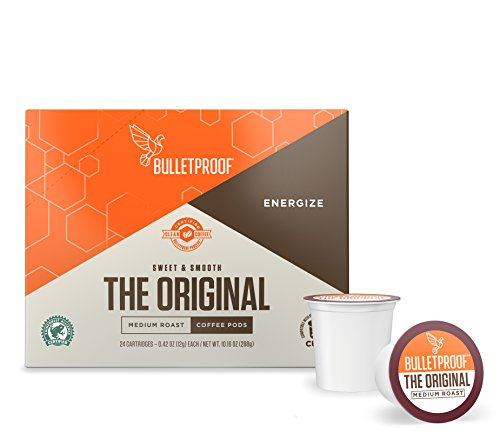 Bulletproof The Original Roast Coffee Pods, Premium Medium Roast Organic Beans, Single-Serve K Cups, Works With Keurig 2.0 (24 Count)