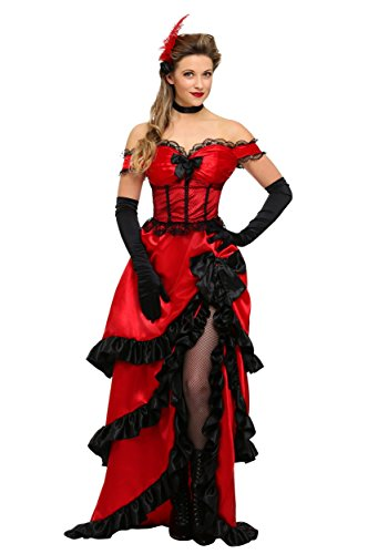 Adult Plus Size Saloon Girl Costume 2X Red]()
