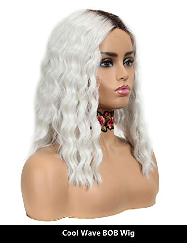 (NOBLE Snow White BOB Wigs Cool Water Wave Lace Wig 5 inches Deep Lace Parting Short Brown Roots Colorful Cool Girls Summer Wigs for)