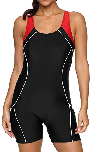 Leg Unitard - beautyin Racerback Swimsuit One Piece for Womens Racing Pro Sport Training Swimwear M Black-red