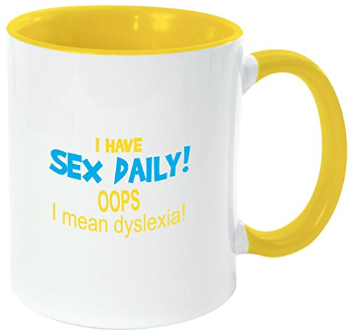 Rikki Knight ''I have SEX daily! Oops-Funny Quotes Yellow Handle and Inside Design'' Ceramic Coffee Mug Cup, 11 oz, Yellow by Rikki Knight