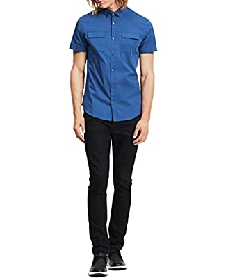 Calvin Klein Men's Short Sleeve Stretch Poplin Military Button-Up Shirt