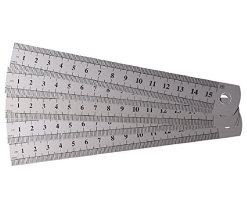 Homespun Set Of 10 Piece Dual Side Marked 15 Cm 6 Inches Stainless Steel Straight Ruler Measurement Office - Skin Guide Tone