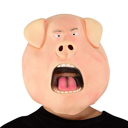 Morrenz - Fake Personalized Angry Pig Latex Mask Cute Animal Halloween Mask Adult Horror Head Set Funny Cosplay Party Mask