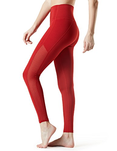 TSLA TM-FYP56-RED_2X-Large Yoga Mesh Long Pants High Tummy Control Waist w Hidden Pocket FYP56