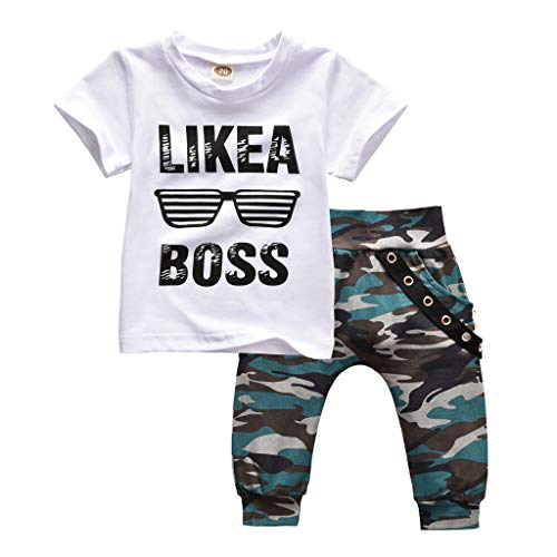 Baby Camouflage Clothes, Casual Toddler Boys Tops T-Shirt Camo Pants Outfits Set (White, 12-18Months)