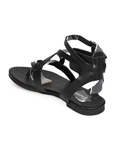 Breckelles Ee04 Sandalo Da Donna In Similpelle Criss Cross Infradito Sandalo - Nero