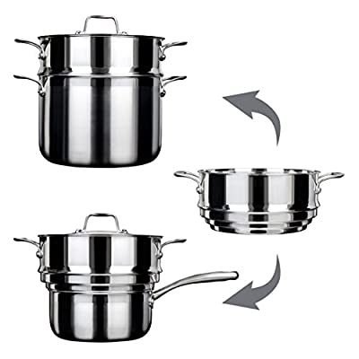 Duxtop Whole-Clad Tri-Ply Stainless Steel Induction Ready Premium Cookware 14-Pc Set