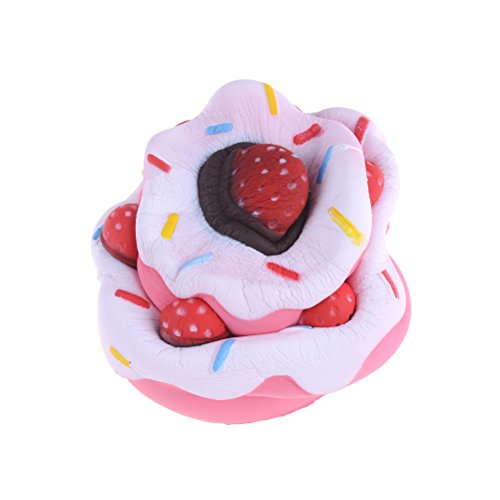 FabQuality SPECIAL OFFER Slow rising squishies Cake with BONUS STICKERS INCLUDED - toy Squishy Kawaii Jumbo Stress Relief Scented Squishy Toys For Kids and Adults, Pink Strawberry Cake