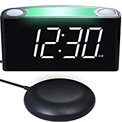 Alarm Clock with Bed Shaker, Digital Clock with 7'' Large Display, Full Dimmer, 7-Color Night Light, USB Chargers, Dual Alarm, 12/24 H, Battery Backup for Bedrooms, Heavy Sleepers, Deaf, Seniors, Kids