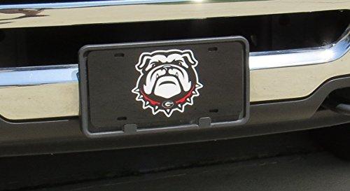 Georgia Bulldogs New Bulldog Logo Mirror Laser License Plate Tag - Black background