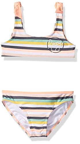 Roxy Little Girls' Lets Go Surfing Athletic Swimsuit Set, Salmon Candy Stripes, 6 ()