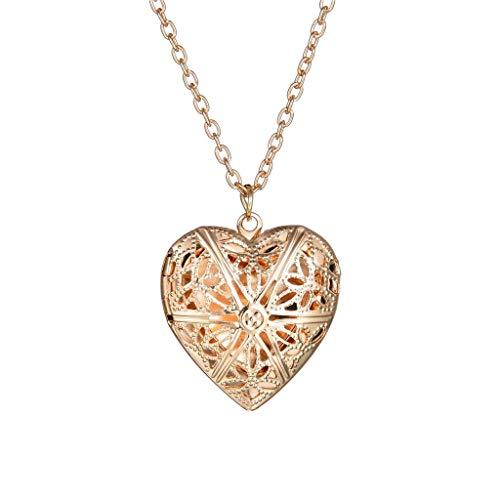 Retro Unique Heart Pendant 1 Slot Photo Frame Pendant Necklace Jewelry Gift Solid Souvenir Decoration Best Gift (Gold)