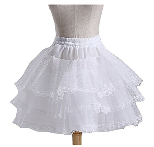 Lorder Queen Lorderqueen Flower Girl Petticoats 3 Layers Hoopless Lace Tulle Underskirt White by Lorder Queen