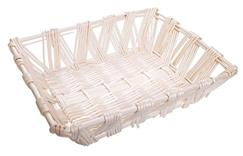 Willow Storage File Tray in White Finish - 15 x 12 x 4.5 Inches (Stacking Baskets Wicker)