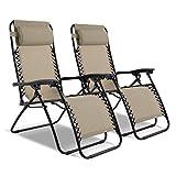 Captiva Designs 2 Pack Zero Gravity Textilene Lounge Folding Chair for Outdoor Patio Use (Beige)