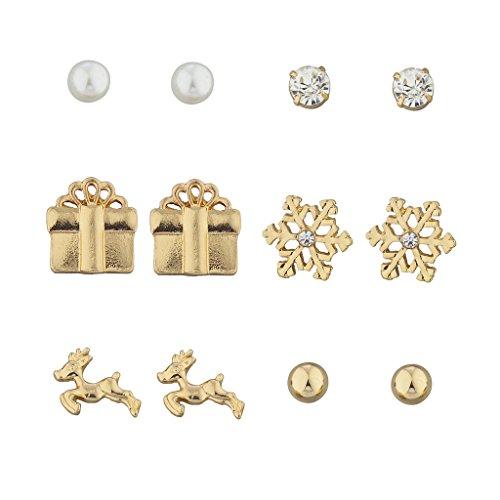 Lux Accessories Goldtone Crystal imitation Pearl Holiday Snowflake Reindeer Earring Set