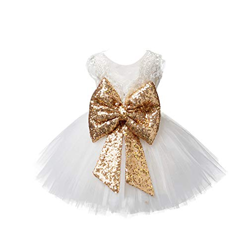- EsTong Newborn Baby Girls Sequins Bowknot Floral Princess Dresses Tulle Tutu Outfit Clothes White 2-3Y