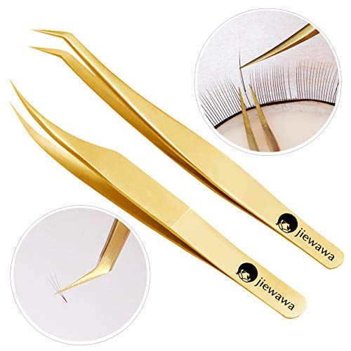 2 Pieces Dolphin-shaped and Curved Tip Tweezers Nipper for Eyelash Extensions, Stainless Steel Tweezers Precision Set Professional Tweezer for False Lash, for Single Lash and 3D-6D Volume Lashes ()