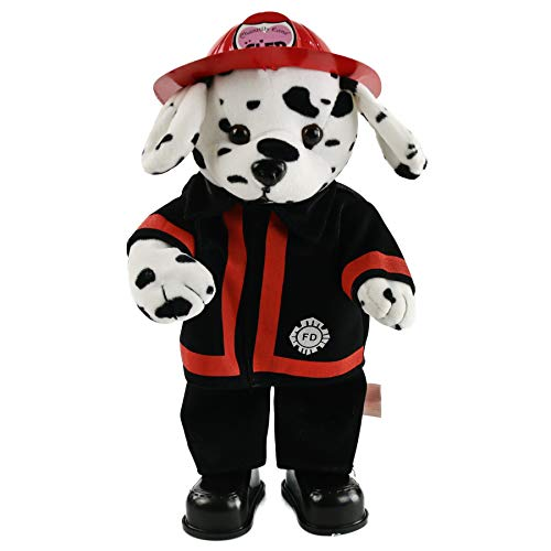Houwsbaby Electric Spotty Dog Musical Dalmatian Stuffed Animal Singing Brave Fireman in Uniform Dancing Puppy Plush Toy, Black, 14 inches