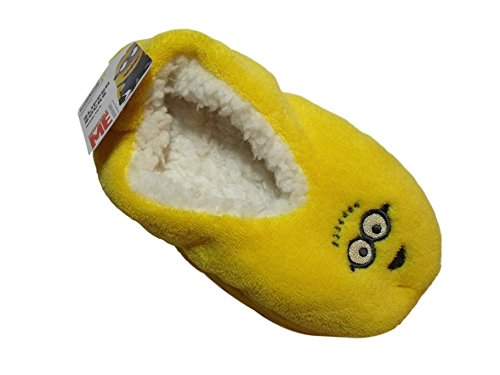 Despicable Me Minions Boys Girls Yellow Slippers Nonslip Fuzzy (M/L (8 toe to heel)) (Despicable Me Shoes)