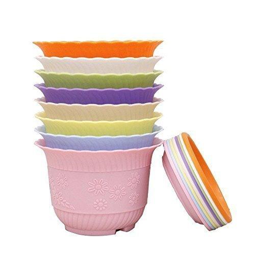 Macetas de plástico coloridas con forma de flor para ...