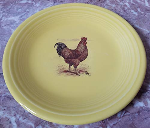 Fiestaware Salad Plate - w/Chicken New Hampshire Red Rooster - Sunflower Yellow - Homer Laughlin China Co. Fiesta